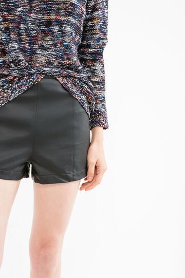 100% viscose high-waisted shorts., Black, hi-res