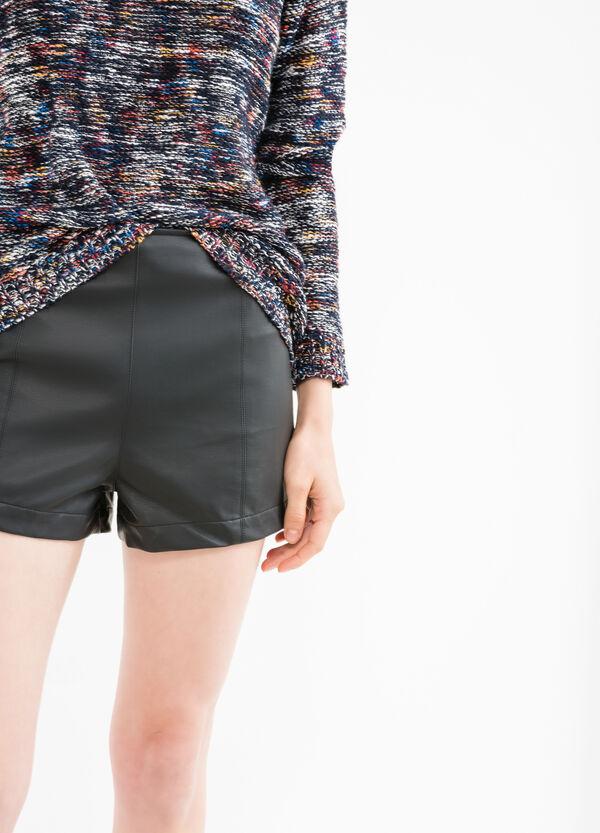 Shorts de talle alto en viscosa 100% | OVS