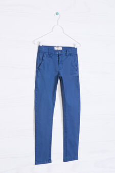 Pantaloni chino in cotone stretch, Blu avio, hi-res