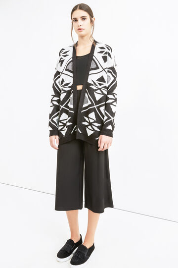 Knitted long cardigan with contrasting colour embroidery, Black/White, hi-res
