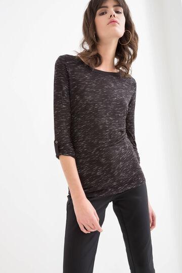 Solid colour T-shirt in viscose blend., Black, hi-res