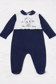 100% cotton romper suit with Tweetie Pie print, White/Blue, hi-res