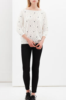 Floral pullover with boat neck, White, hi-res