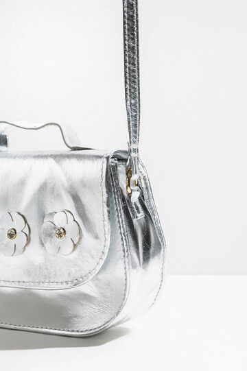 Shiny shoulder bag with flowers