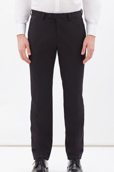Elegant trousers in stretch viscose, Black, hi-res