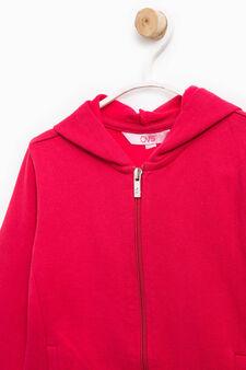 Solid colour 100% cotton sweatshirt, Red, hi-res