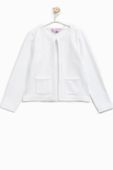 Cardigan tricot con tasche applicate, Bianco, hi-res