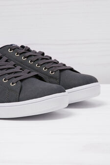 Sneakers basse similpelle, Blu navy, hi-res