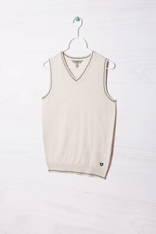 Cotton blend knitted waistcoat, Ecru, hi-res