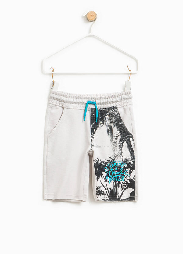 Bermuda shorts in 100% cotton with maxi print | OVS