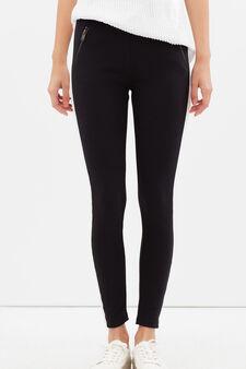 Pantaloni sportivi stretch con zip, Nero, hi-res