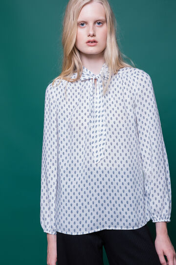 Printed blouse in 100% viscose, White, hi-res