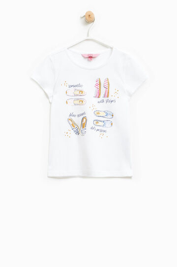 100% cotton T-shirt with glitter print, White, hi-res