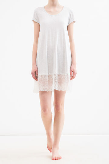 Nightshirt with viscose lace, Grey Marl, hi-res