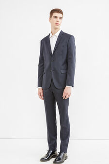 Elegant slim-fit wool and linen suit, Dark Blue, hi-res