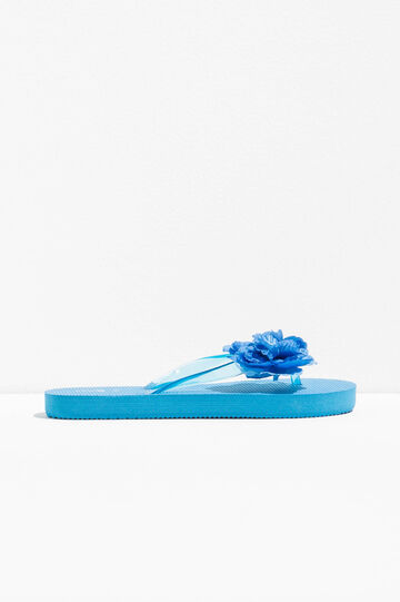 Flip flops with flower, Turquoise Blue, hi-res
