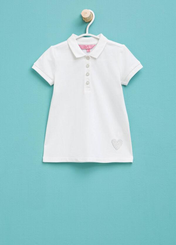 Stretch cotton polo shirt with diamanté trim | OVS