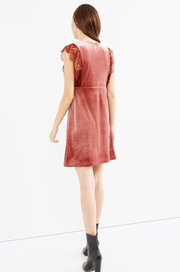 Short velvet dress with lace, Brick Red, hi-res