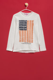 100% cotton T-shirt with raw edges, Off-white, hi-res