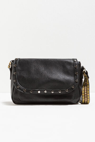 Patterned shoulder bag with studs
