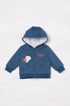Denim sweatshirt with hood, Denim, hi-res