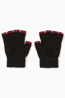Fingerless gloves with contrasting edging, Black/Red, hi-res