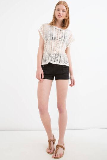 T-shirt traforata puro cotone, Marrone ecru, hi-res