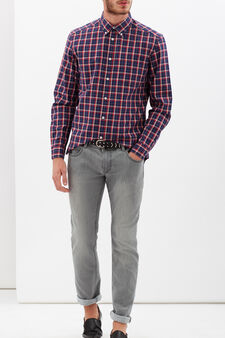 Camicia tartan bicolore, Blu/rosso, hi-res