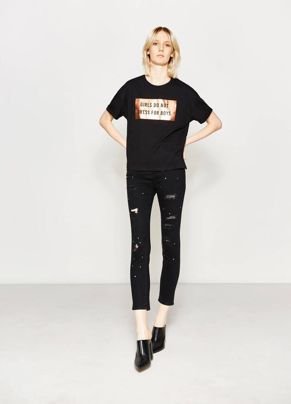 Asymmetric T-shirt with print | OVS