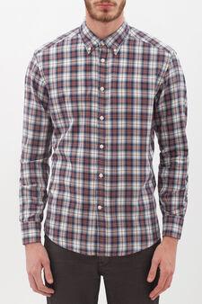 Regular fit flannel shirt, White/Blue, hi-res