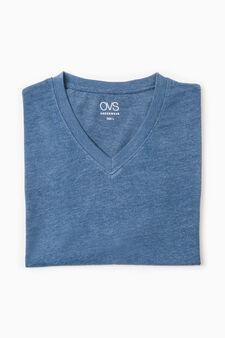V-neck cotton undershirt, Soft Blue, hi-res