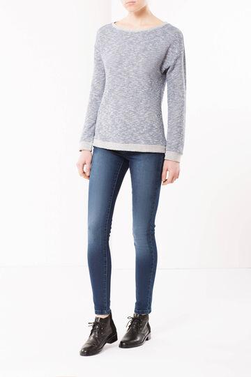 Melange knit jumper, White/Blue, hi-res