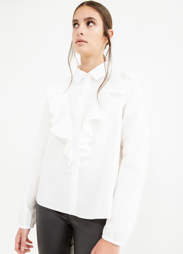 100% cotton shirt with flounces | OVS