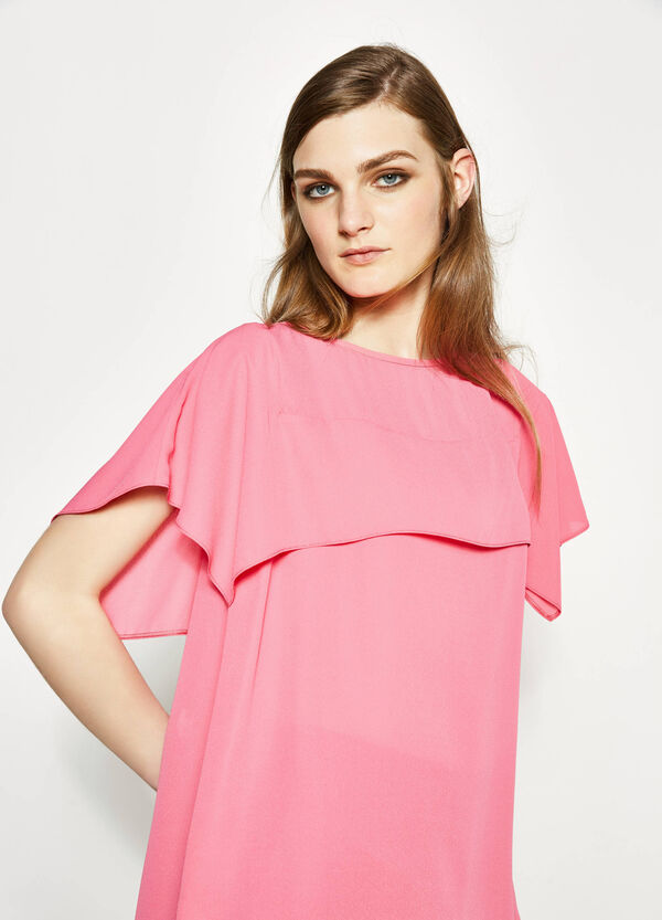 Solid colour blouse with flounces | OVS