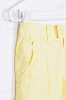 Shorts puro cotone plissettatura, Giallo, hi-res