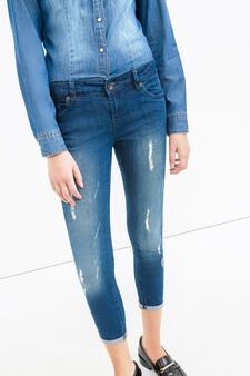 Worn-effect skinny-fit, cropped stretch jeans, Dark Wash, hi-res