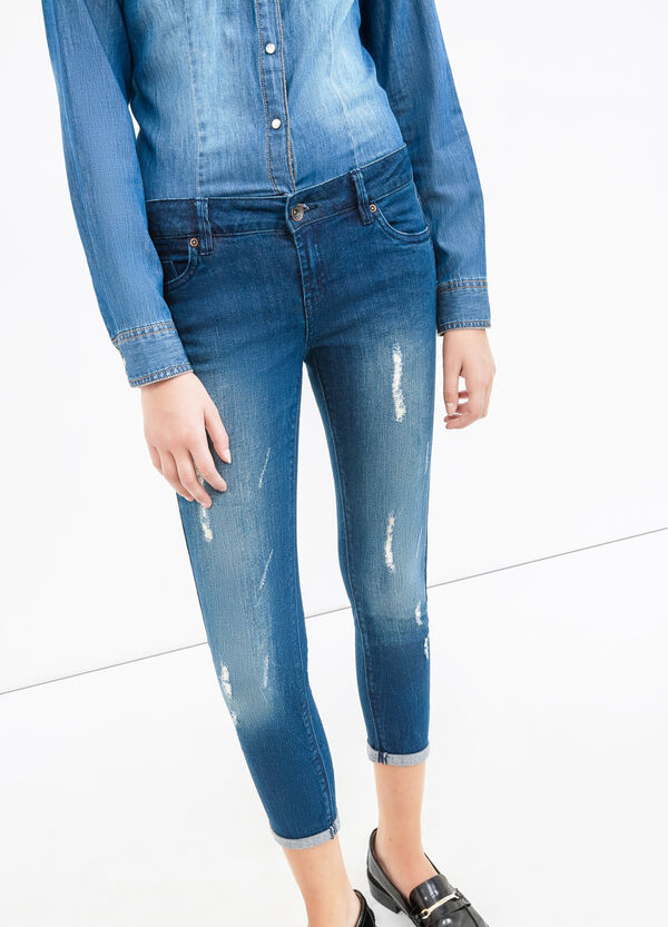 Worn-effect skinny-fit, cropped stretch jeans | OVS