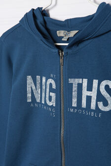 100% cotton sweatshirt with printed lettering, Blue, hi-res