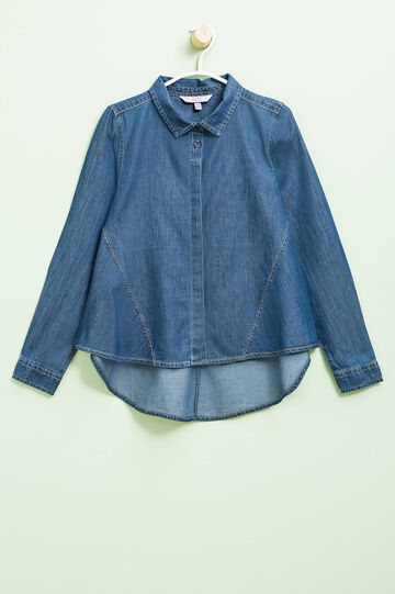 Denim shirt with asymmetric hem, Dark Blue, hi-res