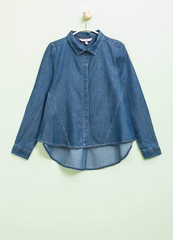 Denim shirt with asymmetric hem | OVS