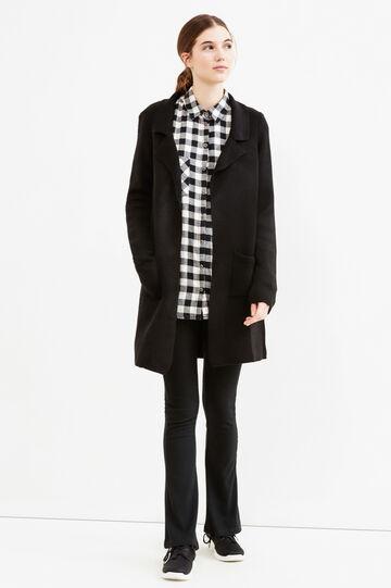 Solid colour knit cardigan with lapels, Black, hi-res