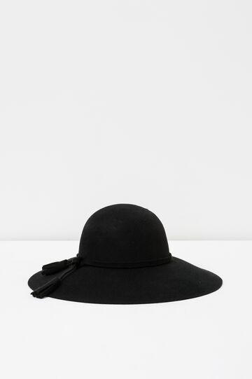 Cappello falda larga in feltro, Nero, hi-res