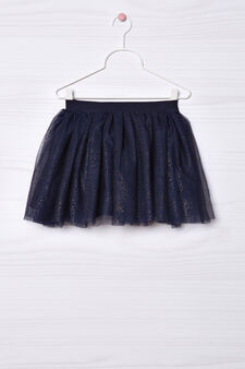 Lace skirt with flounces, Navy Blue, hi-res