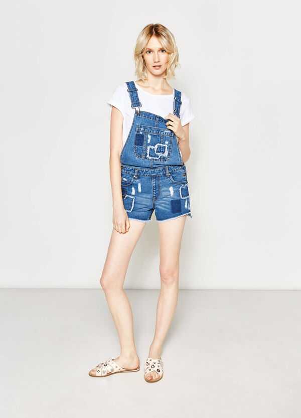 Used-effect denim dungarees with patches | OVS