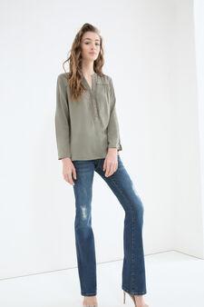 V-neck blouse in 100% viscose, Green, hi-res