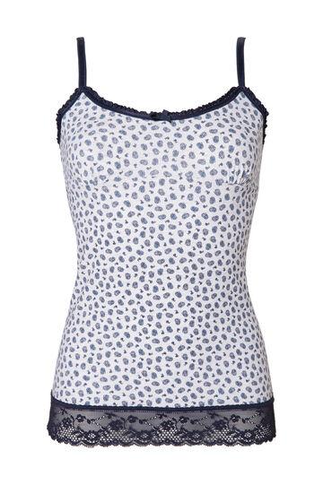 Stretch cotton printed top, Grey, hi-res