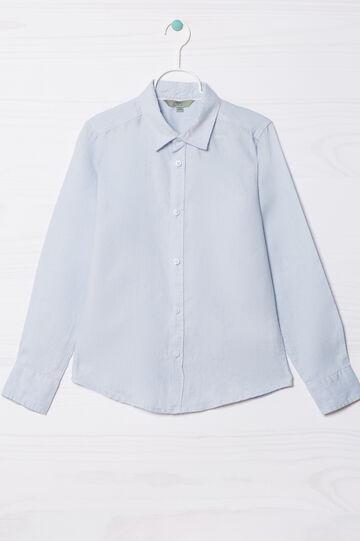 Camicia in puro lino, Azzurro, hi-res