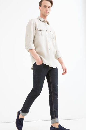 Camicia in puro lino taschini, Beige, hi-res