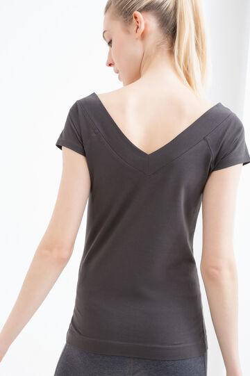 V-neck stretch gym T-shirt, Black, hi-res
