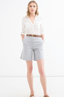 Shorts cotone stretch tinta unita, Bianco/Grigio, hi-res